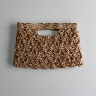 手編み製図 フラワーモチーフのクラッチバッグ