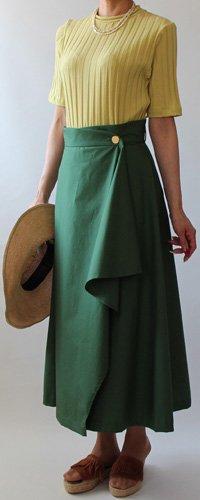 リボン付きフレアーラップスカート