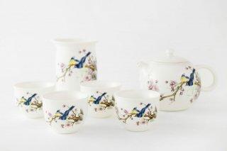 [台湾の茶器]<br>中国茶セット茶道具一式茶道具一式 鶯と梅(飲杯4つ)