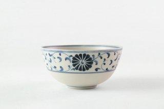 【再入荷】[バッチャン焼(ベトナム)]<br>手書き模様が美しいモダンなバチャン椀(中)