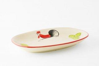 【再入荷】[ランパーン(タイ)]<br>鶏の柄の陽気で可愛いオーバル皿