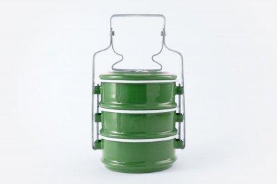 [Rabbit Brand(タイ)]<br>ホーローのお弁当箱 3段 グリーン