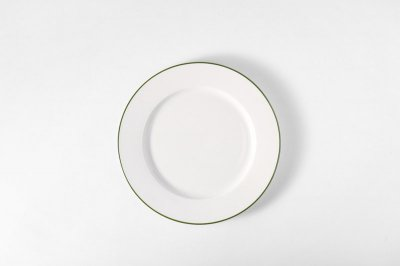 [白いテーブルウェア]<br>ラインプレート S グリーン