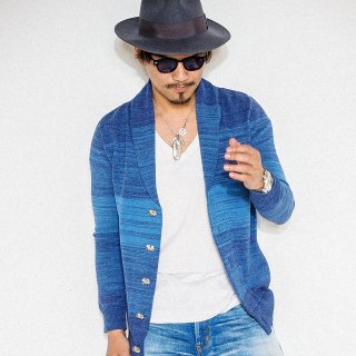 EX COTTON Shawl Cardigan BLUE