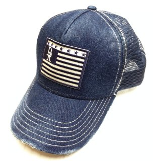 VINTEAGE DENIM RESOUND FLAG CAP IND A