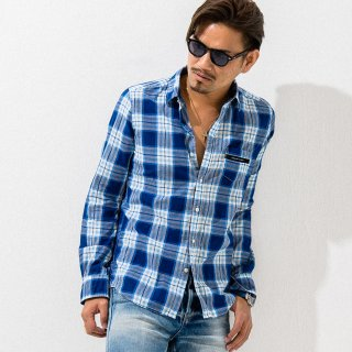 MARK CHECK SHIRTS BLUE