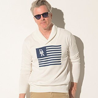 FLAG shawl pullover knit WHITE