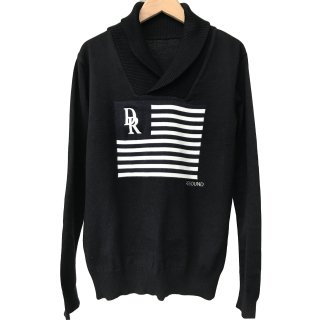FLAG shawl pullover knit BLACK