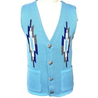 native knit VEST SAX