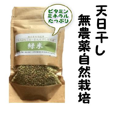 天日干し古代米 緑米250g 無農薬自然栽培