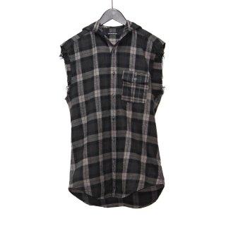 ノースリーブチェックフードシャツ