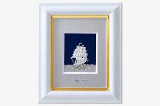 純銀卓上額  帆船  1号白