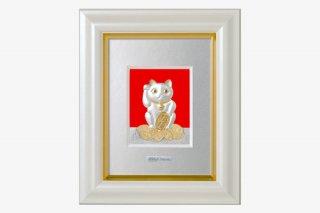 純銀卓上額 招き猫 1号白