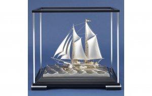 銀製 ヨット1号(2本マスト) ソリッドケース
