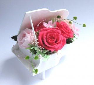 プリザーブドフラワー[ピアノアレンジ/ホワイト花器/ホットピンク]可愛いプレゼント/格安