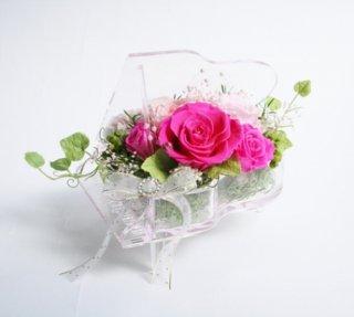 プリザーブドフラワー[ピアノアレンジ/クリスタル花器/エスプリピンク]結婚お祝い/格安/可愛い受付