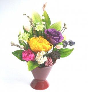 プリザーブドフラワー[供養花/輪菊イエロー]長持ちきれいお値打ちアレンジ