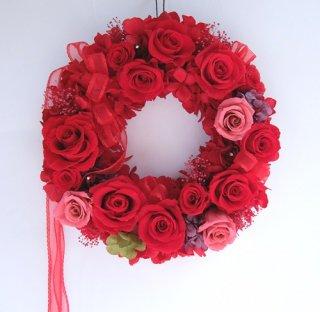 プリザーブドフラワー[赤バラのエレガントリース/愛する人へ]記念日・還暦お祝い・格安