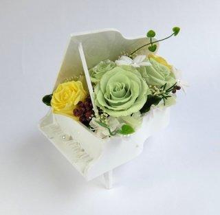 プリザーブドフラワー[ピアノアレンジ/ホワイト花器/ピスタチオ]素敵なプレゼント/格安