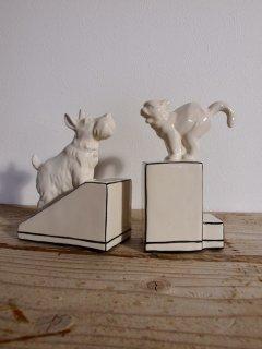 ヴィンテージ ブックエンド(陶器)犬と猫