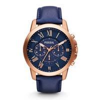 【価格以上のデザイン♪】正規品 期間限定価格☆ FOSSIL フォッシル GRANT グラント 腕時計 メンズ  FS4835 クロノグラフ ネイビーレザー 商品画像