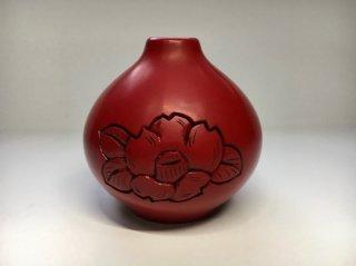 堆朱 球花瓶 椿