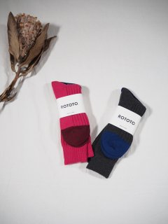 Rototo COTTON CASHMERE RIBBED CREW SOCKS
