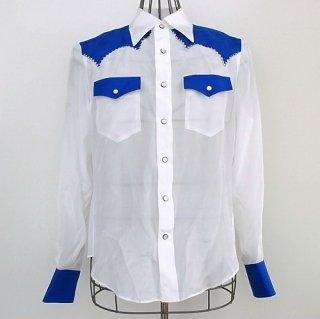 WACKOMARIA SILK WESTERN SHIRT(ホワイト×ブルー)