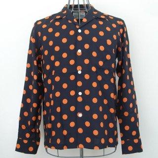 WACKOMARIA BIG DOTS SHIRT L/S(ブラック オレンジ ドット)