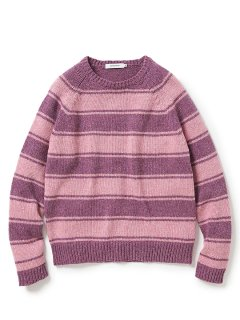 nonnative TOURIST SWEATER SHETLAND WOOL YARN BORDER