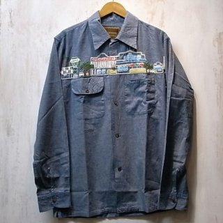 ANACHRONORM HAND-EMBROIDERED CHAMBRAY SHIRT(ライトインディゴ)