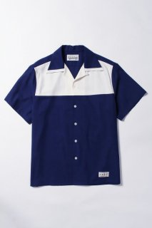 WACKO MARIA TWO-TONE 50'S SHIRT ( TYPE-3 )(ネイビー×オフホワイト)