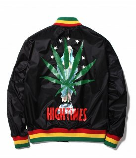 WACKO MARIA HIGHTIMES × WACKO MARIA RASTA STRIPED RIB VIRSITY JACKET ( TYPE-2 )(ブラック)