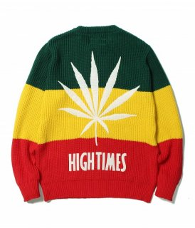 WACKO MARIA HIGHTIMES × WACKO MARIA RASTA STRIPED CREW NECK SWEATER(ラスタ)