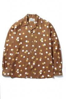 WACKO MARIA DOTS L/S HAWAIIAN SHIRT ( TYPE-2 )(ブラウン)