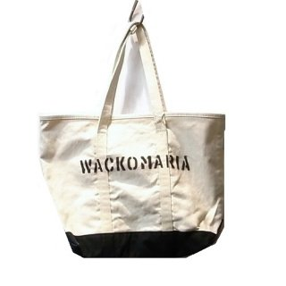 WACKO MARIA WASHED CANVAS TOTE BAG ( TYPE-3 )(ホワイト)