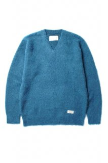 WACKO MARIA V NECK MOHAIR SWEATER(ブルー)