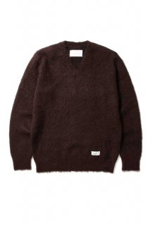 WACKO MARIA V NECK MOHAIR SWEATER(D.ブラウン)