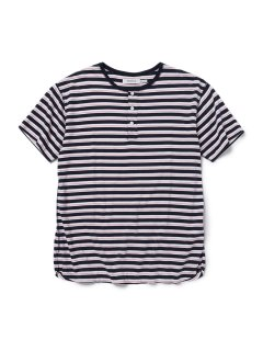 nonnative DWELLER HENLEY NECK S/S TEE COTTON JERSEY BORDER