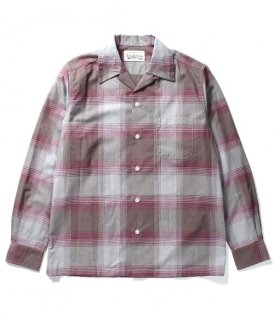 WACKO MARIA OMBRAY CHECK OPEN COLLAR SHIRT ( TYPE-1 )