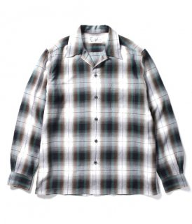 WACKO MARIA OMBRAY CHECK OPEN COLLAR SHIRT ( TYPE-5 )