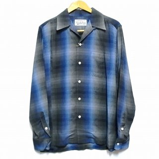 WACKO MARIA 60'S OMBRAY CHECK OPEN COLLAR SHIRT ( TYPE-1 )