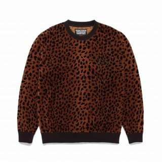 WACKO MARIA LEOPARD VELOUR CREW NECK SWEAT SHIRT
