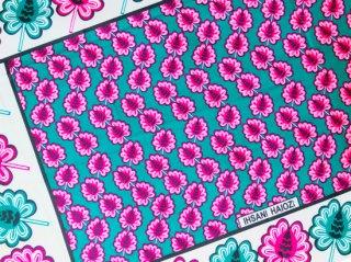 【カンガ】 グリーン×ピンク リーフ 東アフリカ民族布