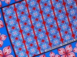 【カンガ】 ブルー×レッド フラワー 東アフリカ民族布
