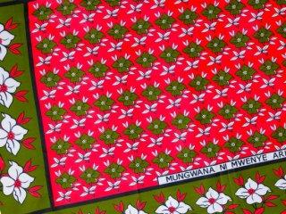 【カンガ】 ピンク×モスグリーン フラワー 東アフリカ民族布