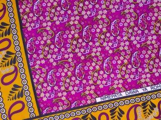 【カンガ】 パープル×ベージュ フラワー 東アフリカ民族布