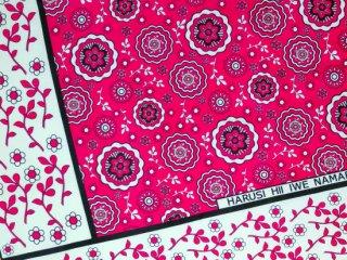 【カンガ】 ピンク×ホワイト フラワー 東アフリカ民族布