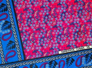 【カンガ】 ピンク×ブルー フラワー 東アフリカ民族布