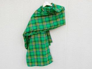 【マサイシュカ】 緑×黄×黒×白 ラインチェック 東アフリカ・マサイ族伝統布